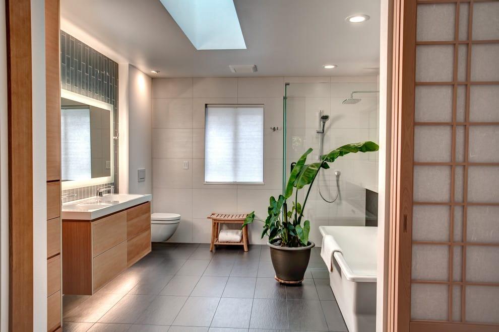 ceramic tile and gray floor bathroom design in San Diego
