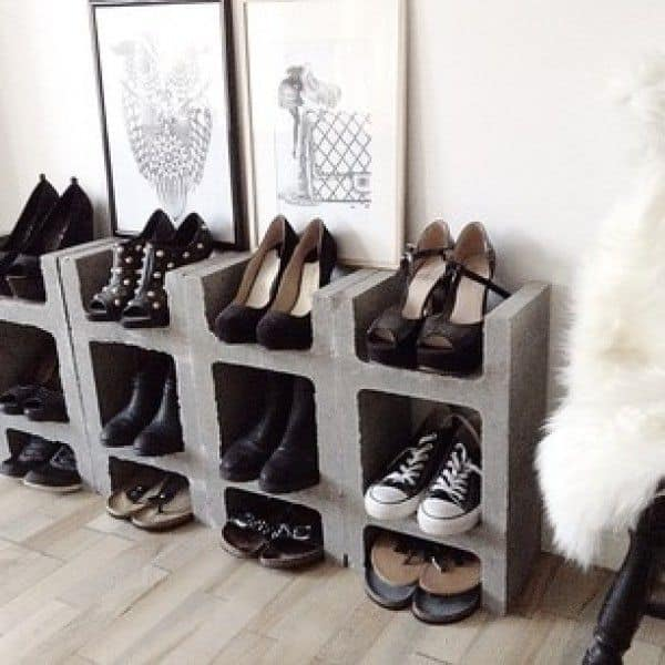 Cinder Block Shoe Rack