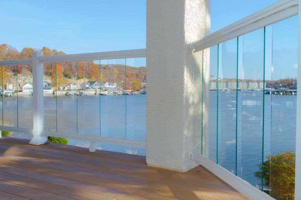 Vertical Glass Panel Deck Railing Idea