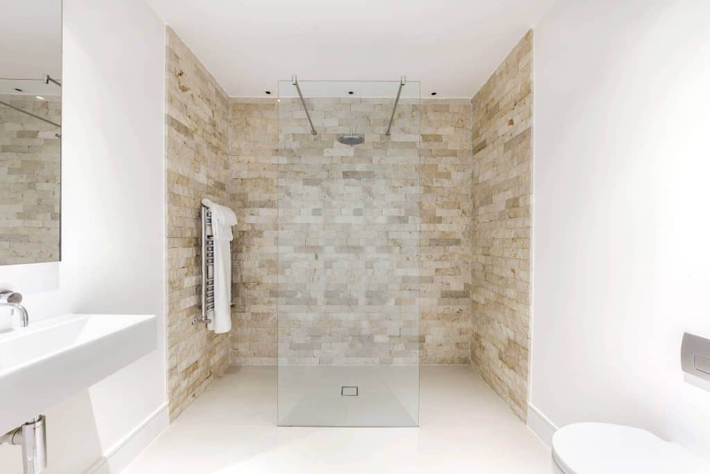Bricked Travertine bathroom tile ideas