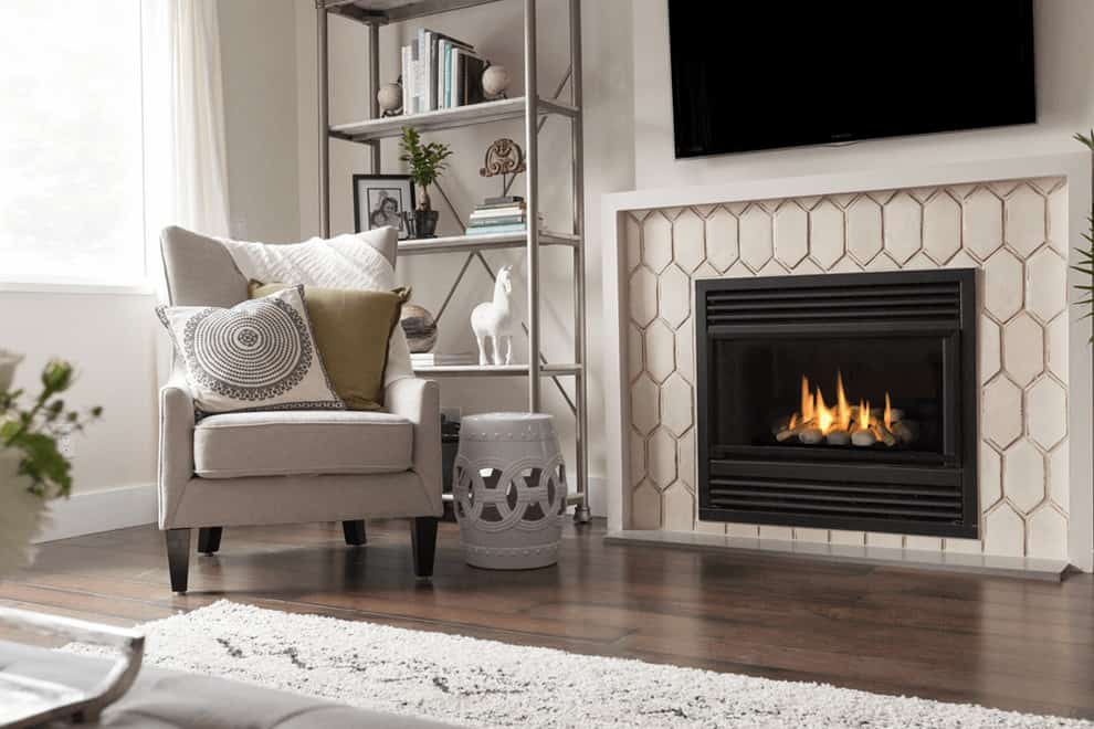 tiled fireplace ideas - elongated hexagon tiles