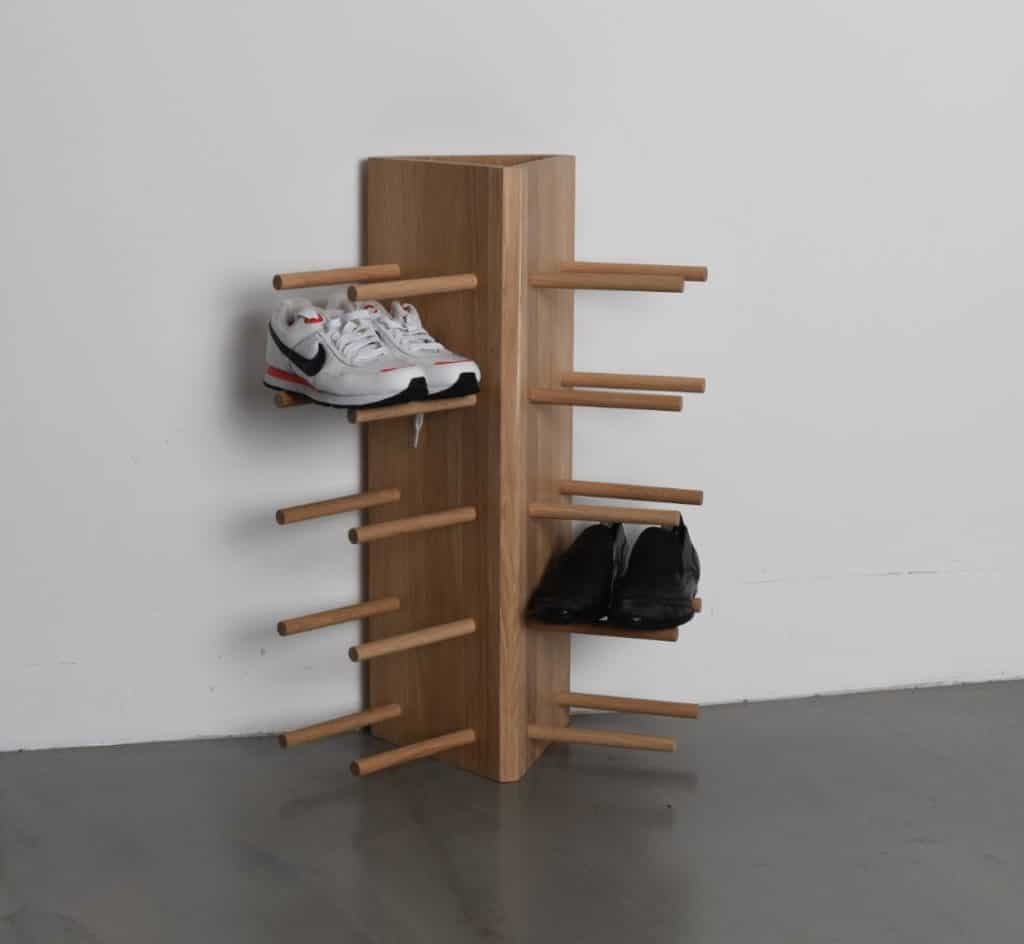 Wooden Dowel Shoe Rack