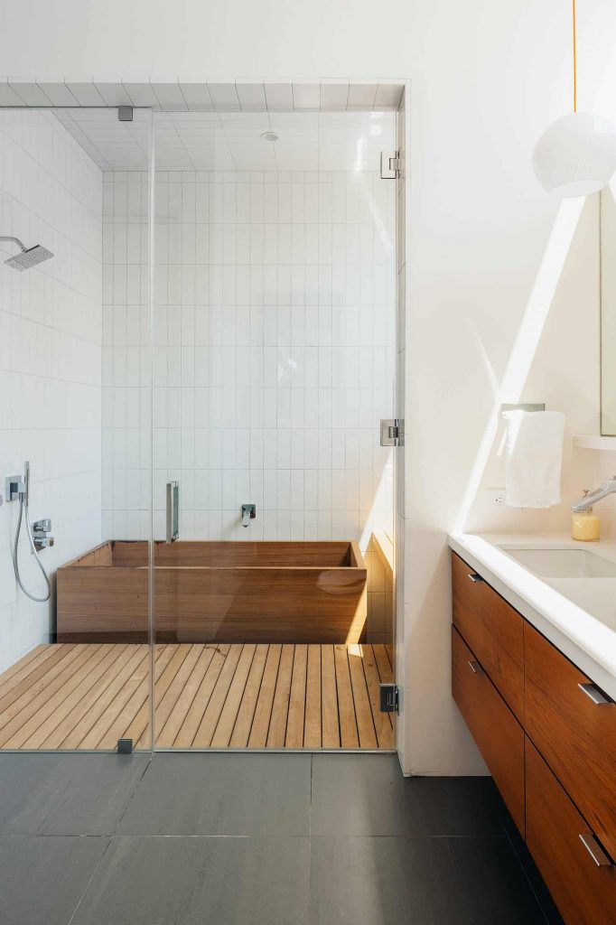 multicolored floor bathroom design in San Francisco