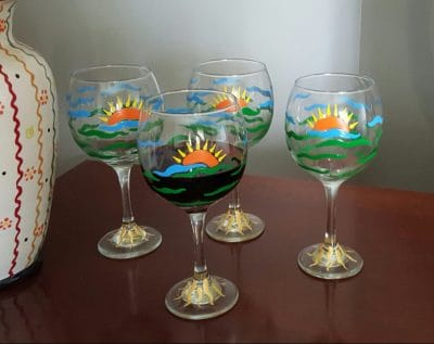 4 Sunset hand painted wine glasses