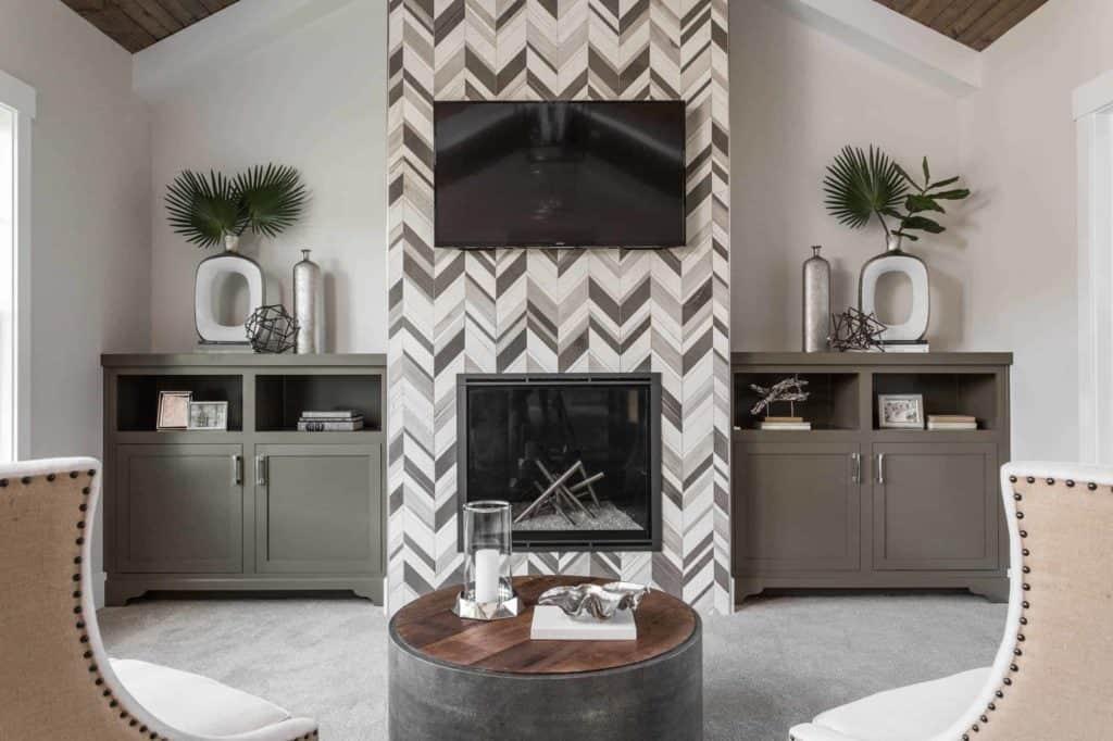 tiled fireplace ideas - zig-zag pattern