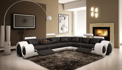 4087 Black & White Bonded Leather Sectional Sofa With Built-in Footrests