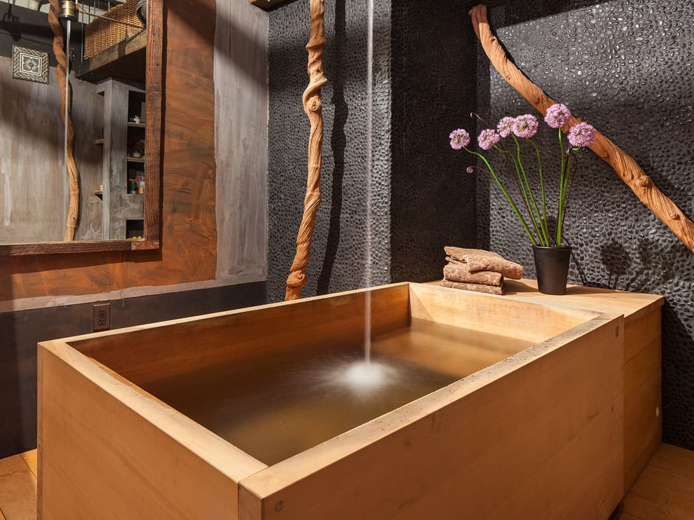 Trendy white tile and mosaic tile japanese bathtub photo in San Francisco