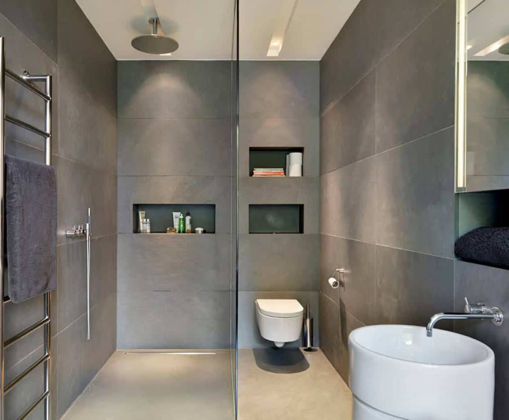 minimal shower designs without doors