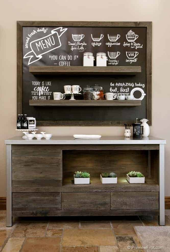Minimal, Modern, Chalk coffee bar ideas