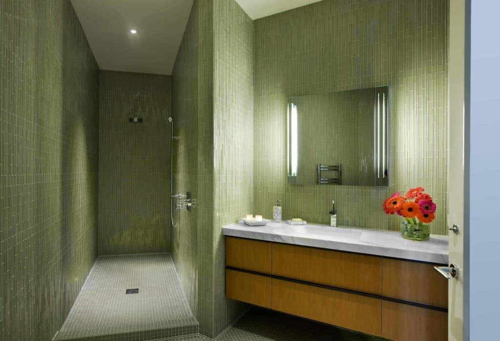 Earthy Vertical Tile Open Shower Design