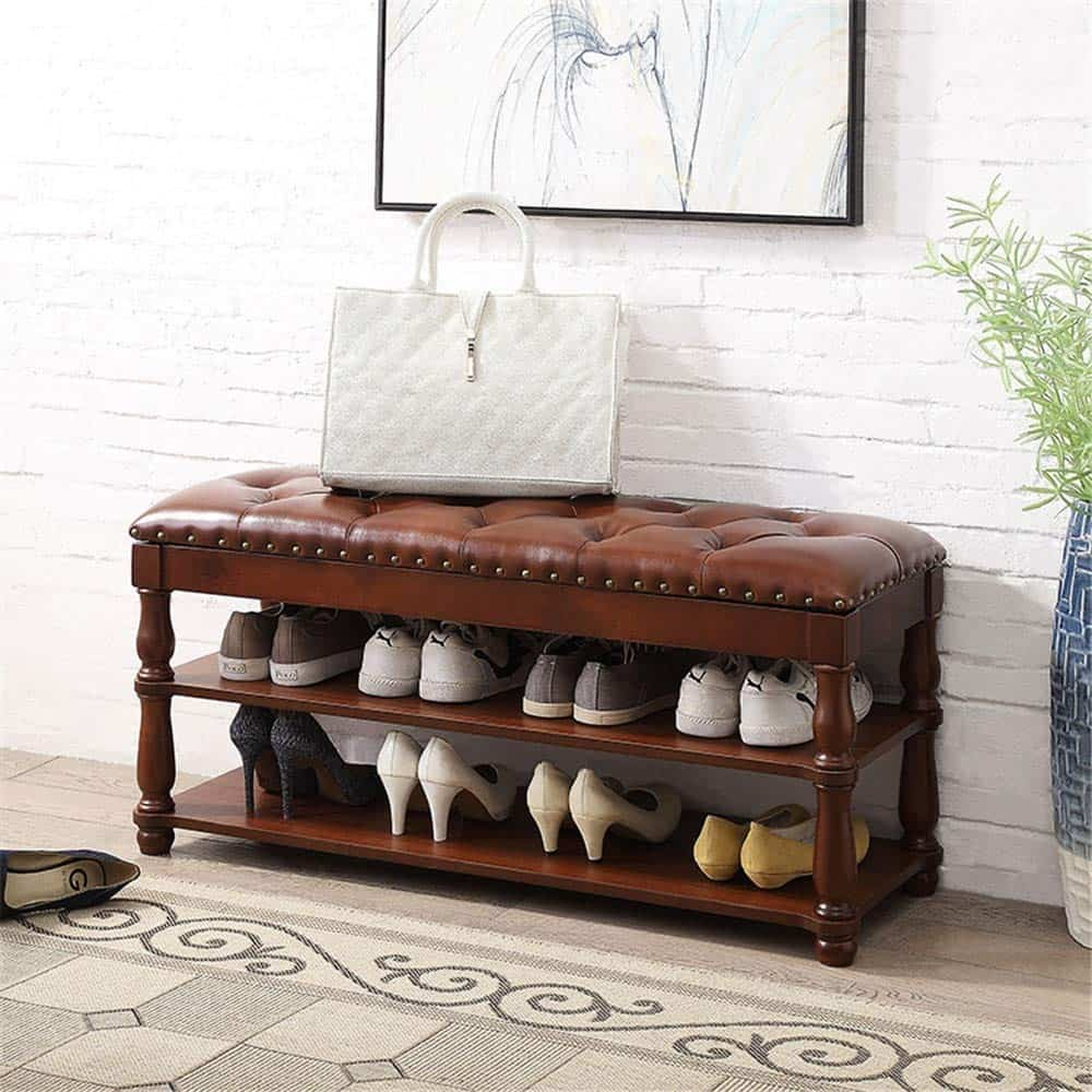 Leather Bench with an Under-Mounted Shoe Organizer