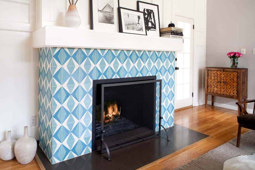 tiled fireplace ideas - The design here is the perfect retro throwback with a modern twist.