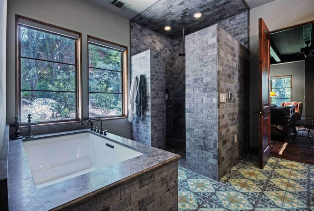 Spanish Tile and Brick shower without walls