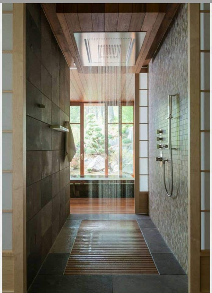 mid-sized asian master bathroom idea in Portland