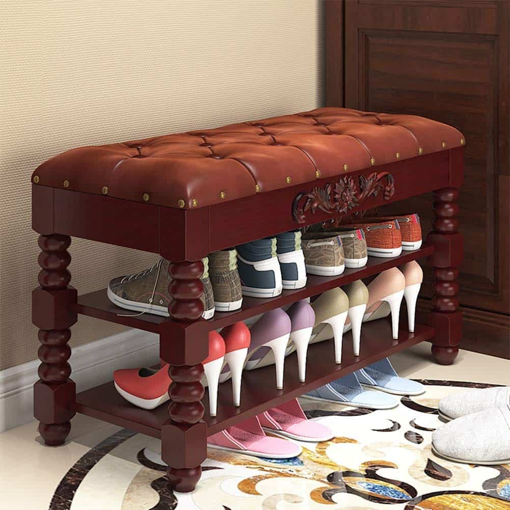 Plush Shoe Rack Bench