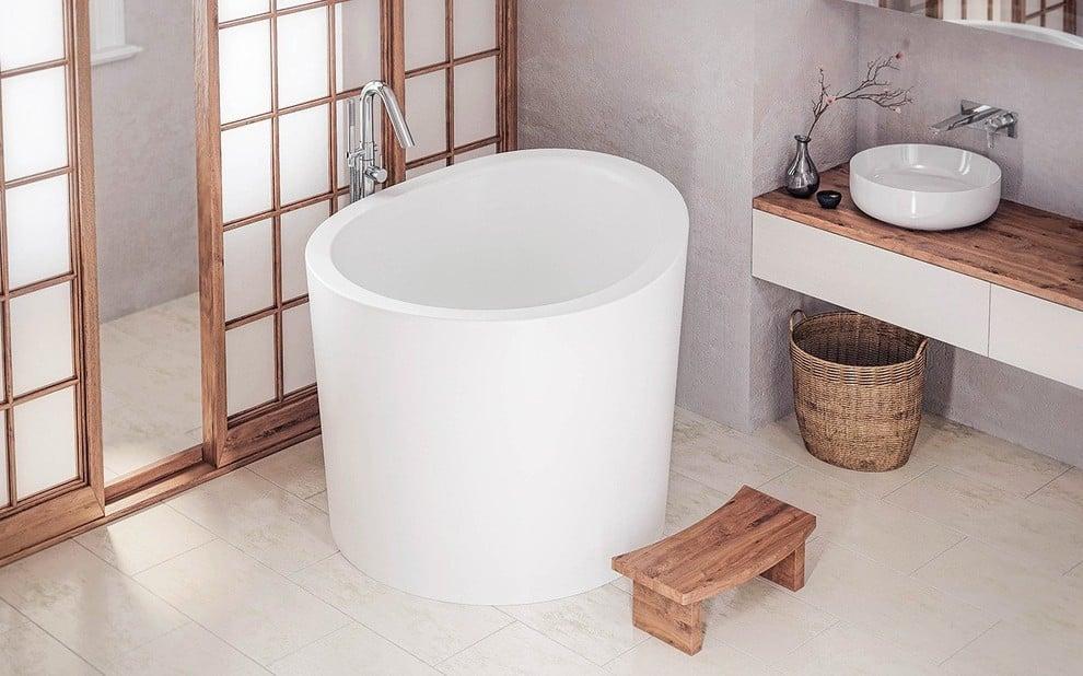 Mid-sized asian master porcelain tile and brown floor bathroom photo in Denver