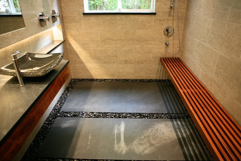 stone tile japanese bathtub design in DC Metro