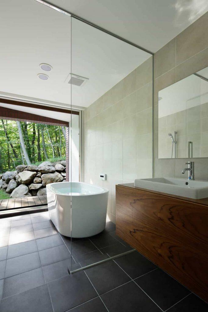 ceramic tile and brown floor bathroom remodel