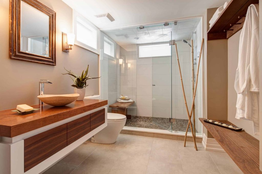 Mid-sized master gray tile and stone tile walk-in shower photo