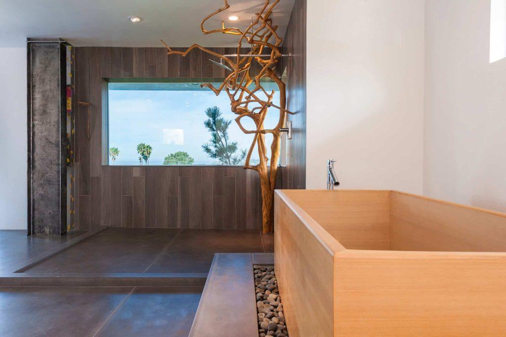 concrete floor and gray floor bathroom idea in San Diego