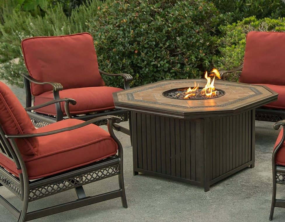 Agio Westminster Gas Fire Pit with Copper Reflective Fire Glass