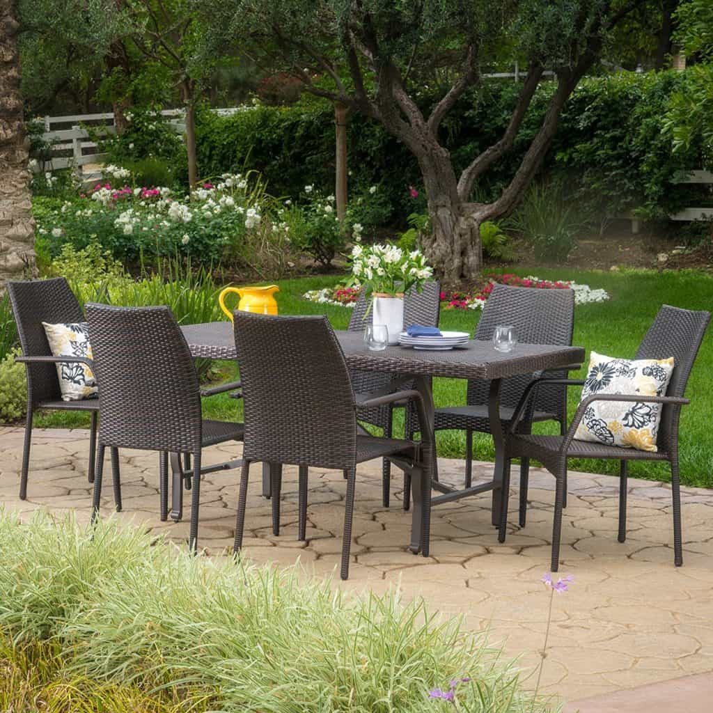 Alexi Outdoor 7 Piece Multibrown Wicker Dining Set