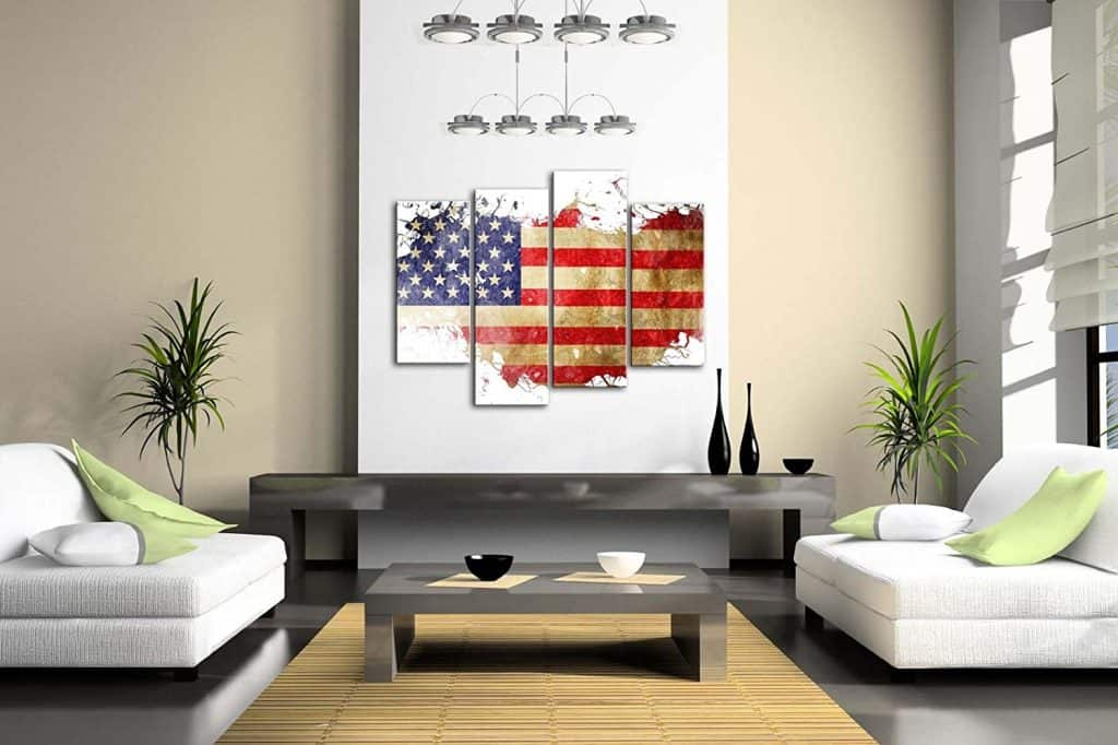 American Flag In Its Country'S Outline Wall Art