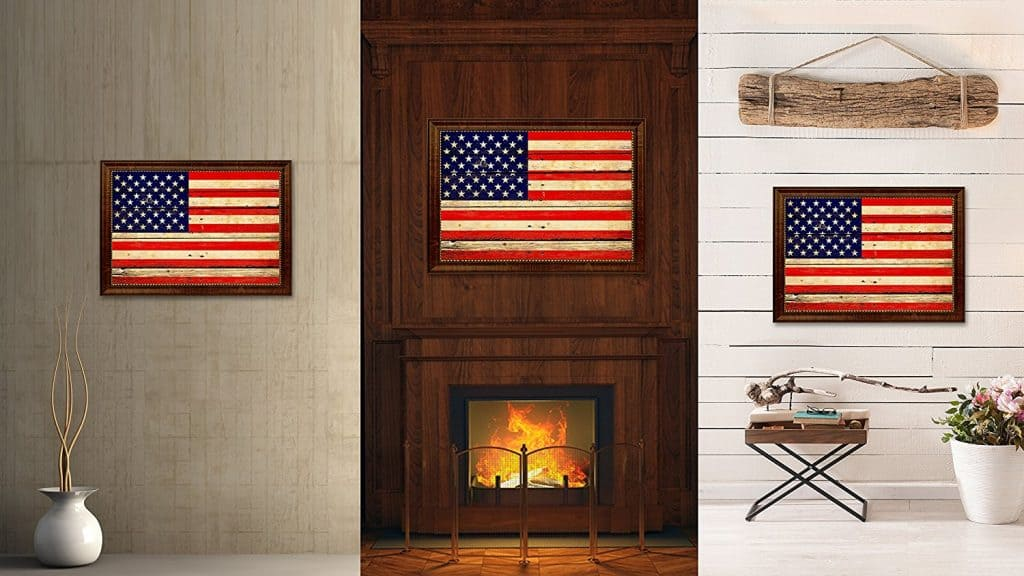 American Vintage Flag Canvas Print Brown Picture Frame