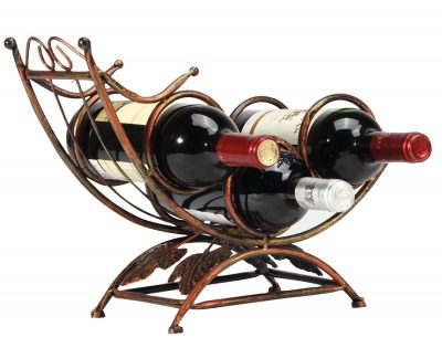 Antique Rocking Chair Design Bronze Tone 3 Bottle Tabletop Wine Rack