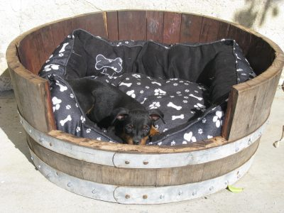 Authentic Oak wine or whiskey barrel pet bed