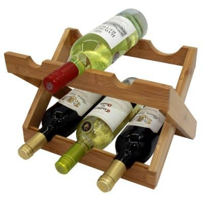 Autree Natural Bamboo Foldable Countertop Wine Rack 6-bottles
