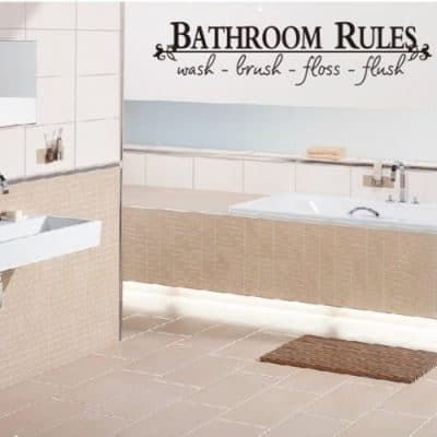 BATHROOM RULES Wash Brush Floss Flush Quote Saying Wall Sticker Home Decal Decor For Bathroom