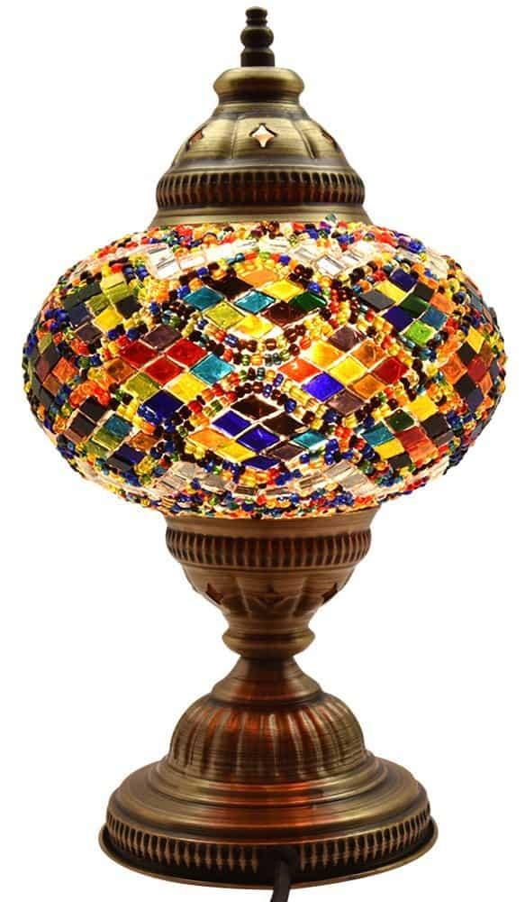 BOSPHORUS Stunning Handmade Turkish Moroccan Mosaic Glass Table Desk Bedside Lamp Light with Bronze Base