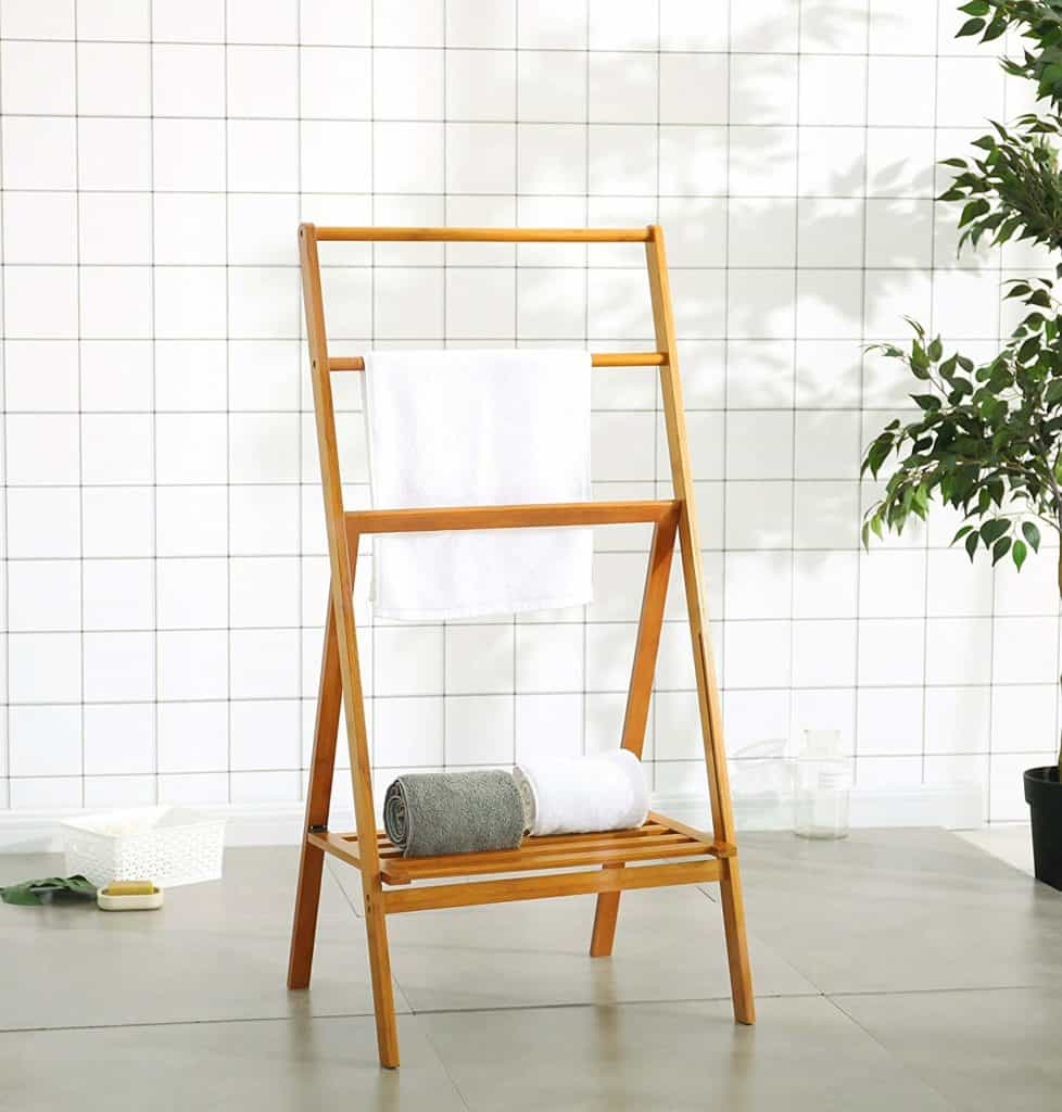 Bamboo Folding Towel Stand with Shelf