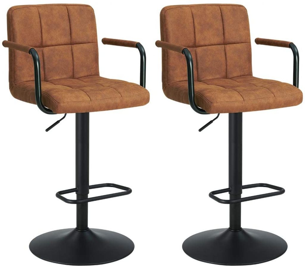 Bar Stool Kitchen Bar stools with Backrest & Armrest Set of 2 Duhome WY-451K Bar Chair (Brown)