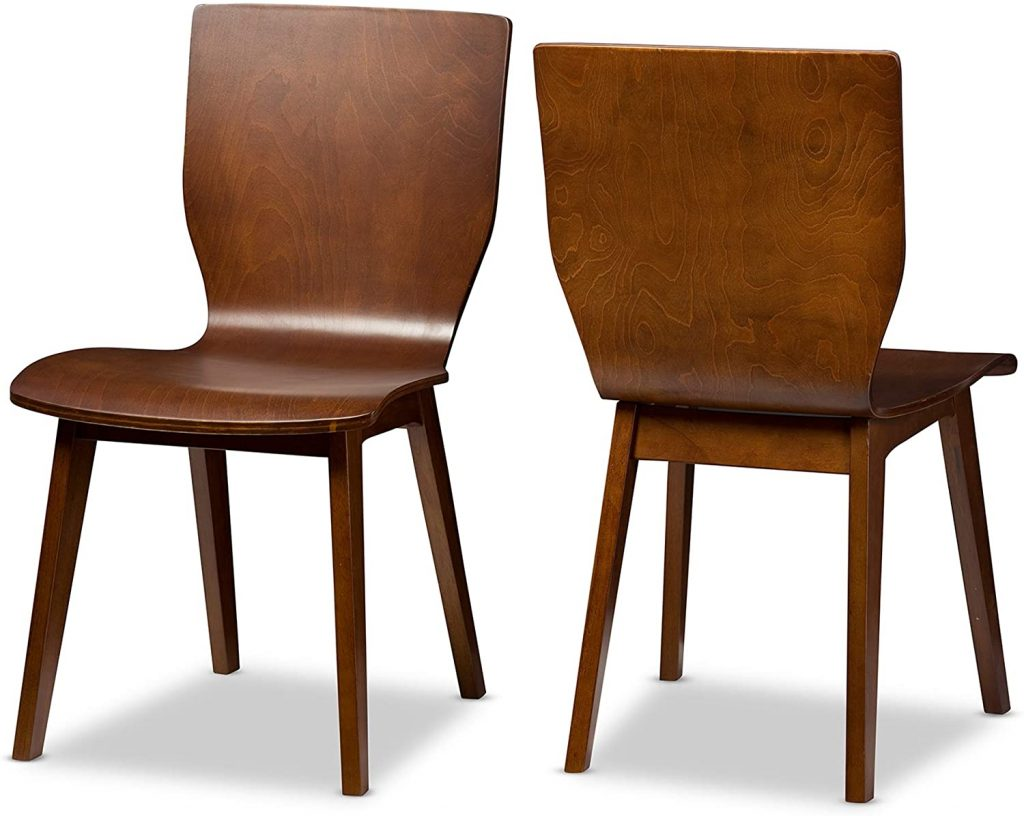 Baxton Studio Set of 2 Elsa Mid-Century Modern Scandinavian Style Bent Wood Dining Side Chairs Dark Walnut