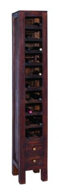 Benzara Stately Wood Mahogany Wine Rack with Two Pullout Drawers at the Base