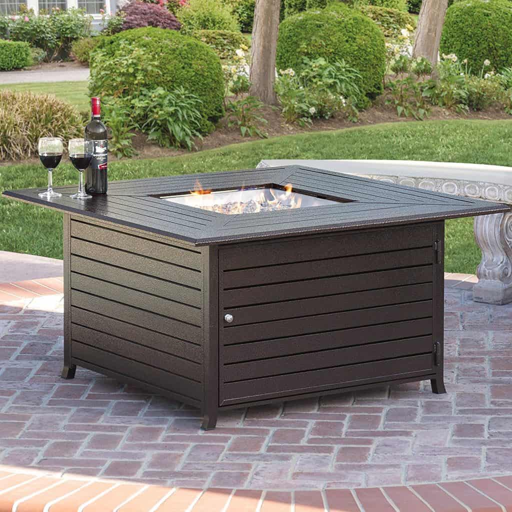 Square Gas Fire Pit Table for Outdoor Patio
