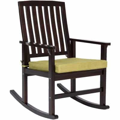 Best Choice Products Contemporary Patio Wood Rocking Chair W Seat Cushion