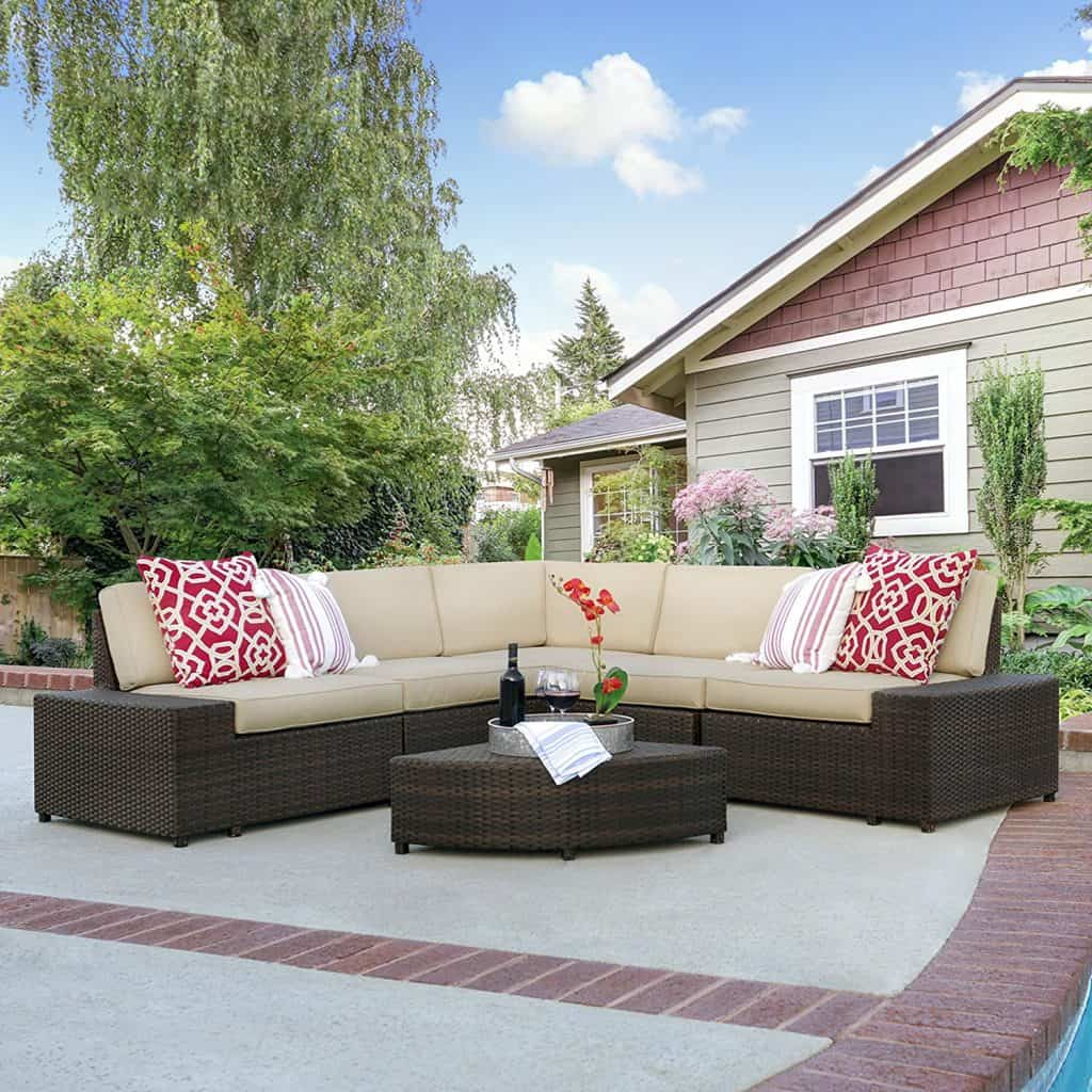 Best Choice Products Patio Furniture 6-Piece Wicker Sectional Sofa Set