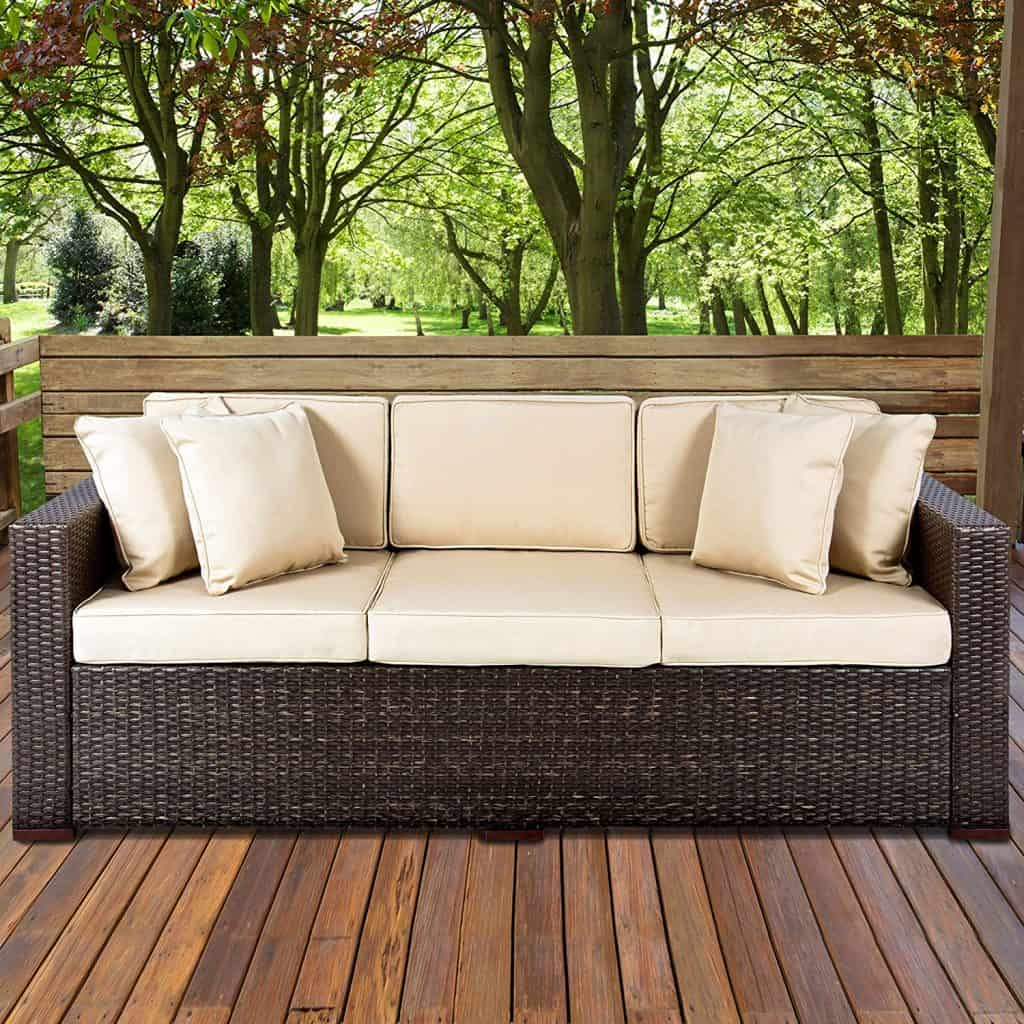 Best ChoiceProducts Outdoor Wicker Patio Furniture Sofa