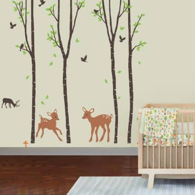 Birch Tree Forest with Deers and Flying Birds Baby