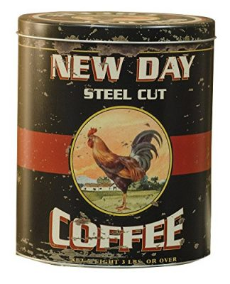 CWI Gifts Vintage Coffee Tin with Antique Rooster Ad
