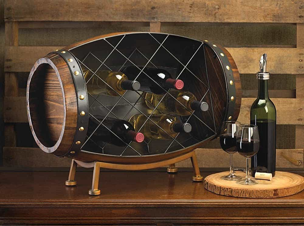 Cask Wine Barrel Bottle Tabletop Rack