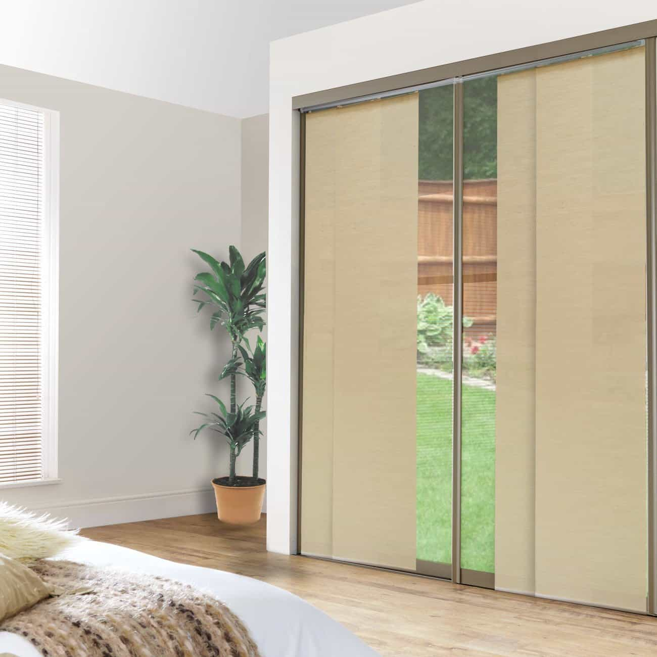 Chicology Double Rail Track Privacy Fabric Adjustable Sliding Panel track blinds, Cordless Shade, 80 x 96, Abaca Alabaster