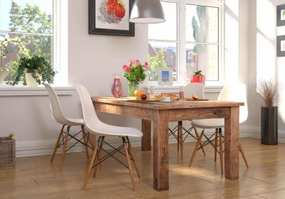 Custom Wood Table with modern chairs