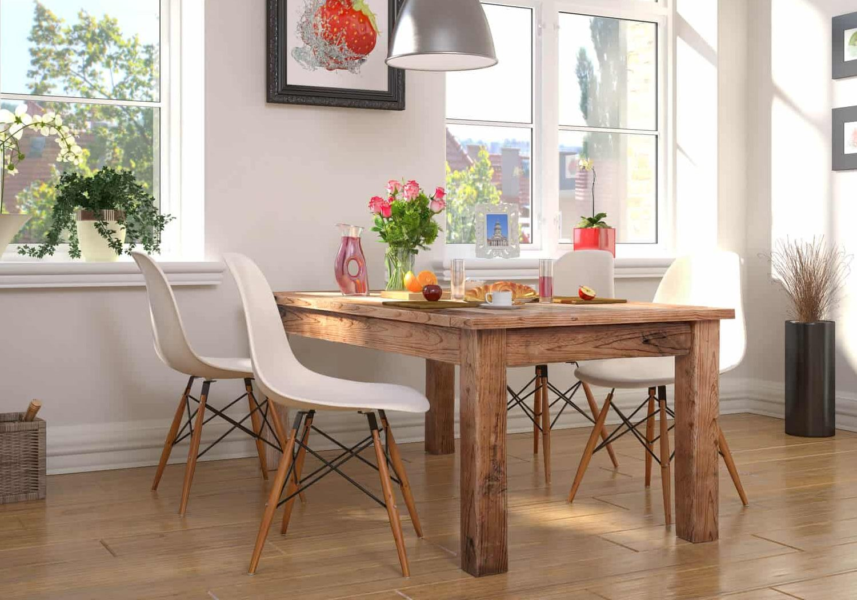 Custom Wood Table with modern chairs