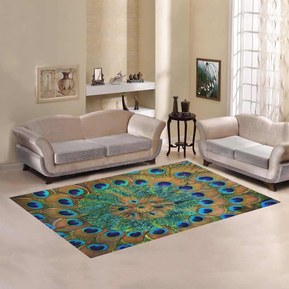 D-Story Sweet Home Art Floor Decor Peacock Feather Area Rug Carpet Floor Rug 7'x5' For Living Room Bedroom