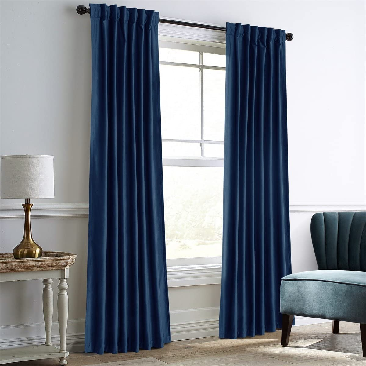 Dreaming Casa Royal Blue Velvet Room Darkening Curtains for Living Room Thermal Insulated Rod Pocket Back Tab Window Curtain