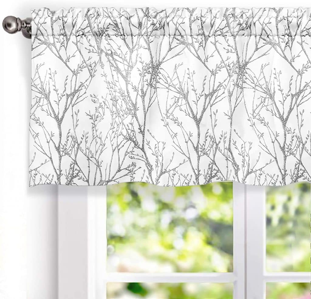 DriftAway Tree Branch Abstract Ink Printing Lined Thermal Insulated Window Curtain Valance Rod Pocket